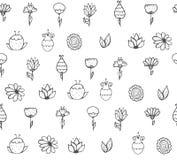 Naadloze modieuze textuur met zwart-witte krabbelbloemen Royalty-vrije Stock Fotografie