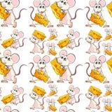 Naadloze muis met kaas Stock Fotografie