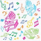 Naadloze muziekachtergrond met grammofoon. Royalty-vrije Stock Foto