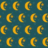 Naadloze nachtachtergrond met maan en sterren Royalty-vrije Stock Fotografie