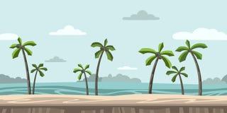 Naadloze oneindige achtergrond voor arcadespel Zandig strand met palmen en wolken in de blauwe hemel Vector royalty-vrije illustratie