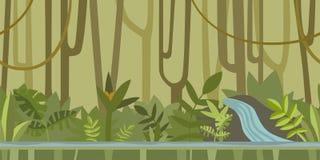 Naadloze oneindige achtergrond voor spel of animatie Onderwaterwereld met rotsen, zeewier en koraal Vector illustratie stock illustratie