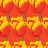 Naadloze oranje achtergrond met rode tulpen Stock Fotografie