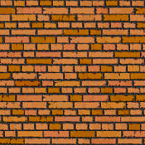 Naadloze oranje bakstenen muurachtergrond. Stock Afbeelding