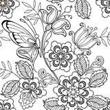 Naadloze ornamentbloemen en vlinders voor de antispannings kleurende pagina stock illustratie
