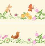 Naadloze ornamenten met flora en fauna Royalty-vrije Stock Afbeelding