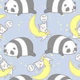 Naadloze panda en kat in het goede patroon van het nachtthema vector illustratie