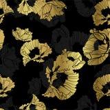 Naadloze papaver gouden zwarte achtergrondpatroonachtergrond stock illustratie
