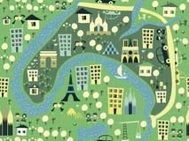 Naadloze Parijs achtergrond in vector Royalty-vrije Stock Afbeeldingen