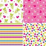 Naadloze patronen als achtergrond in roze en groen Royalty-vrije Stock Foto