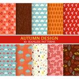 10 naadloze Patronen - Autumn Set Royalty-vrije Stock Afbeeldingen