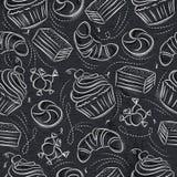 Naadloze Patronen met cupcake, croissan, cake en bonbon op gru royalty-vrije illustratie