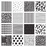 Naadloze patronen met hand getrokken gekrabbel en vlek Zwart-witte abstracte achtergrond Vector textuur Stock Foto's