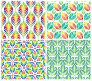 Naadloze patronen met kleurrijke bladeren Beeldverhaal polair met harten Royalty-vrije Stock Foto