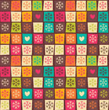 Naadloze patronen met kleurrijke vierkanten en sneeuwvlokken Royalty-vrije Stock Afbeelding