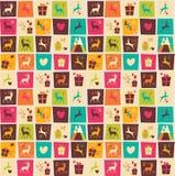 Naadloze patronen met kleurrijke vierkanten, Kerstmisrendieren Stock Afbeelding