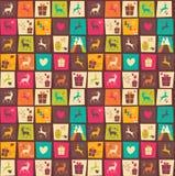 Naadloze patronen met kleurrijke vierkanten, Kerstmisrendieren Stock Foto