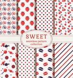 Naadloze patronen met snoepjes Beeldverhaal polair met harten Royalty-vrije Stock Fotografie