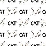 Naadloze patronen met van kattengezichten en woorden Kat Vectorillustra vector illustratie