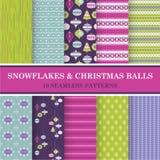 Naadloze Patronen - Sneeuwvlokken en Kerstmisballen Royalty-vrije Stock Afbeelding