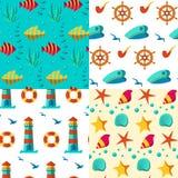 Naadloze patronen zeevaartelementen Stock Fotografie