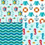 Naadloze patronen zeevaartelementen Stock Foto's