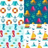 Naadloze patronen zeevaartelementen Stock Afbeeldingen