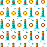 Naadloze patronen zeevaartelementen Royalty-vrije Stock Afbeeldingen