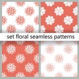 Naadloze patroneninzameling In patroon met koraal floristische patronen voor bannerontwerp Mooie bloemenachtergrond Vastgesteld k stock illustratie