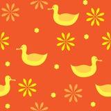 naadloze patroon abstracte achtergrond van eenden en bloemen Stock Foto's