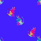 Naadloze patroon abstracte katten multicolored op blauwe purple Royalty-vrije Stock Fotografie