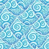 Naadloze patroon blauwe cyaan overzeese golf royalty-vrije illustratie