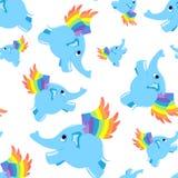 Naadloze patroon blauwe vliegende olifant. Stock Foto