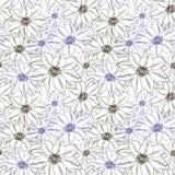 Naadloze patroon bloemendruk De bloemen zijn zwart en purper royalty-vrije illustratie