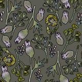 Naadloze patroon of de achtergrond van het waterverf het bloemenbehang royalty-vrije illustratie
