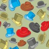 Naadloze patroon geïsoleerded hoeden Royalty-vrije Stock Afbeeldingen