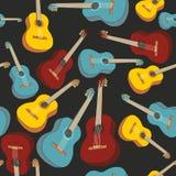 Naadloze patroon geïsoleerdeh gitaren Stock Afbeeldingen