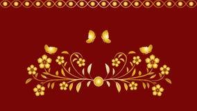 Naadloze patroon gouden bloemen, vlinderornament Stock Afbeeldingen