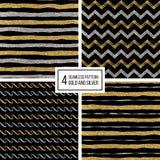Naadloze patroon gouden en silvern lijnen, golf, zigzagstreep Stock Foto