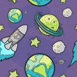 Naadloze Patroon Grappige Kosmos Stock Afbeeldingen