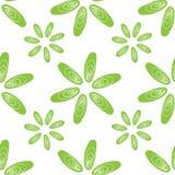 Naadloze patroon groene shells mosselenbloemen Stock Afbeelding