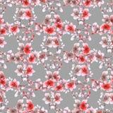 Naadloze patroon kleine rode bloemen en takken op de grijze achtergrond Bloemen achtergrond watercolor Stock Fotografie