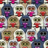 Naadloze patroon kleurrijke uilen met harten Royalty-vrije Stock Afbeelding