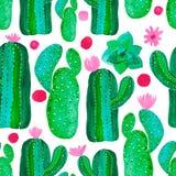 Naadloze patroon Met de hand geschilderde reeks van decoratieve cactus in de Reeks van de fantasiestijl bloeiende installaties stock illustratie