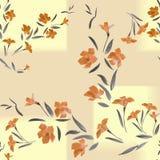 Naadloze patroon oranje bloemen en rechthoeken op een zandachtergrond Stock Fotografie