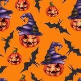 Naadloze patroon oranje pompoen in een hoed, knuppel op een gele achtergrond Halloween-Verschrikkingsnachtmerrie stock illustratie
