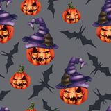 Naadloze patroon oranje pompoen in een hoed, knuppel op een grijze achtergrond Halloween-Verschrikkingsnachtmerrie royalty-vrije illustratie