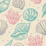 Naadloze patroon overzeese shell Vectorgravure uitstekende illustraties Geïsoleerdu op grijze achtergrond vector illustratie