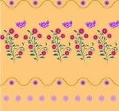 Naadloze patroon purpere bloemen, vlinder Royalty-vrije Stock Afbeelding