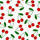 Naadloze patroon rode kers met groen blad royalty-vrije illustratie
